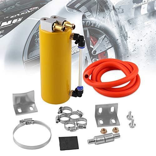 - RYANSTAR Universal Aluminum Racing Engine Oil Catch Tank CAN Kit Turbo Reservoir Billet Round 350ML Gold