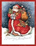 LANG - ''Merry Santa'', Boxed Christmas Cards, Artwork by Susan Winget'' - 18 Cards, 19 envelopes - 5.375'' x 6.875''