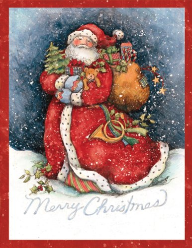 LANG - ''Merry Santa'', Boxed Christmas Cards, Artwork by Susan Winget'' - 18 Cards, 19 envelopes - 5.375'' x 6.875'' by LANG