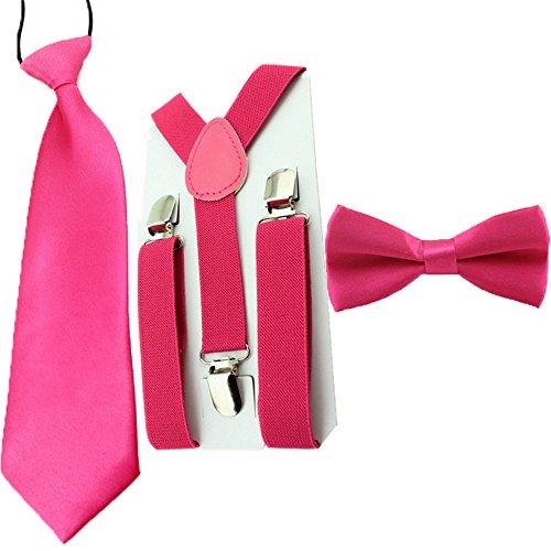 Kids Toddler Baby Boys Suspenders Bow Tie Necktie Set Child Bowtie Braces (Hot Pink) (Ties Hot Pink compare prices)