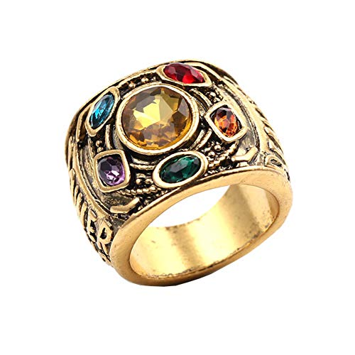 WeizhaonanCos Thanos Infinity Gauntlet Power Ring Endgame Jewelry Stones Rings 8-12 Size (8) -