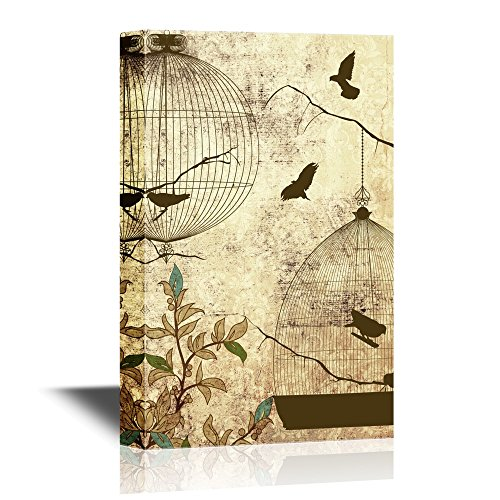 wall26 Canvas Wall Art - Birds and Bird Cage on Abstract Vintage ...