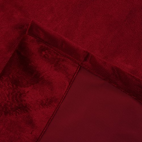 Cherry Home Set of 2 Classic Blackout Velvet Curtains Panels Home Theater Grommet Drapes Eyelet 52Wx63L-inch Red(2 panels)Theater| Bedroom| Living Room| Hotel by Cherry Home (Image #9)