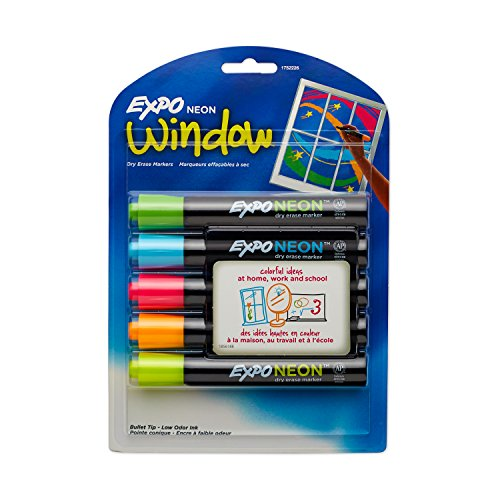 EXPO 1752226 Neon Dry Erase Markers, Bullet Tip, Assorted Colors, 5-Count - Expo Bullet Tip