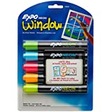 EXPO NEON Marker Dry-Erase, Dry Erase Marker Bullet, 5-Carded, Assorted (1752226)