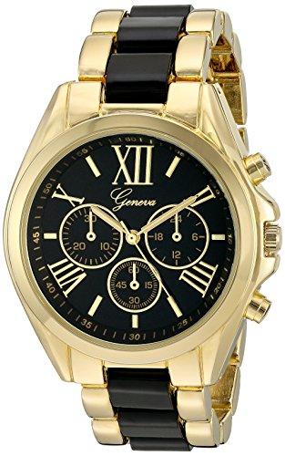 Geneva Women's GV/1000BKBK Multi-Function Dial Gold-Tone and Black Bracelet Watch (Watch Geneva Link Bracelet)