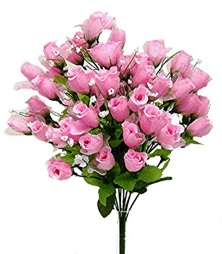 70 Mini Roses Buds PINK Silk Wedding Flowers Centerpieces Bridal Bouquet ()