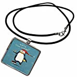 3dRose Dooni Designs Christmas And Winter Designs - Cute Merry Christmas Ice Skating Santa Penguin Holding Stars With Snowflakes Holiday Xmas Greeting - Necklace With Rectangle Pendant (ncl_119115_1)