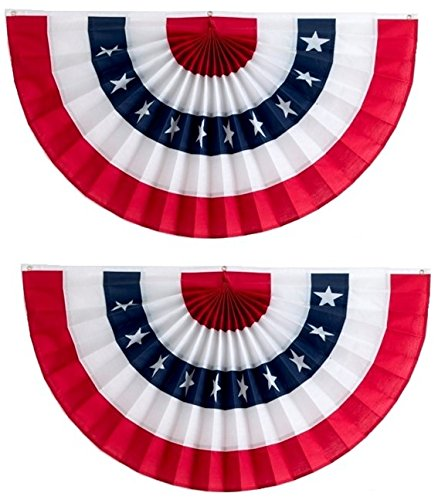 American Flag Bunting by Independence Bunting! 2-Pack American Made Bunting Banner! Fully Sewn Patriotic Bunting with Stars makes your Home the envy of the neighborhood (PolyCotton, 24