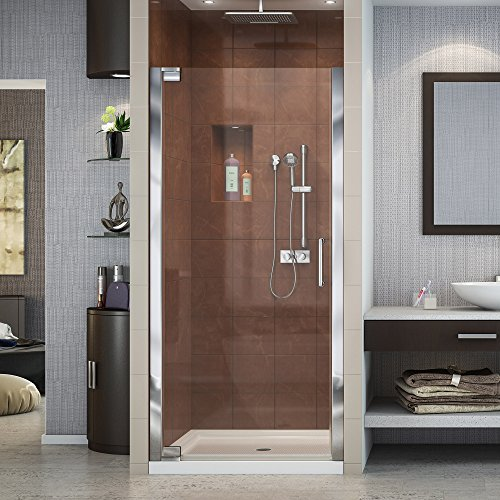 DreamLine Elegance 34-36 in. W x 72 in. H Frameless Pivot Shower Door in Chrome, SHDR-4134720-01