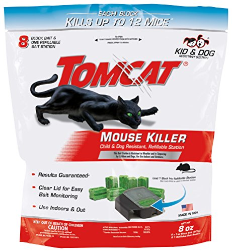 (Tomcat Mouse Killer Refillable Station for Indoor/Outdoor Use - Child and Dog Resistant (Bag of 1 Station with 8 Baits))
