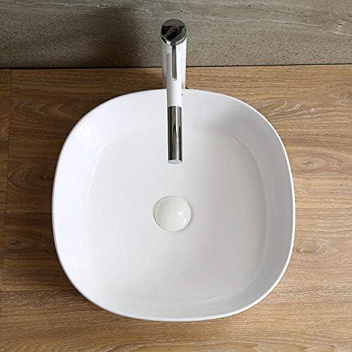 洗面ボール 浴室超薄型の上カウンターラウンドセラミック洗面シンクのホームトイレ 洗面器 (Color : White, Size : 44x44x13.5cm)
