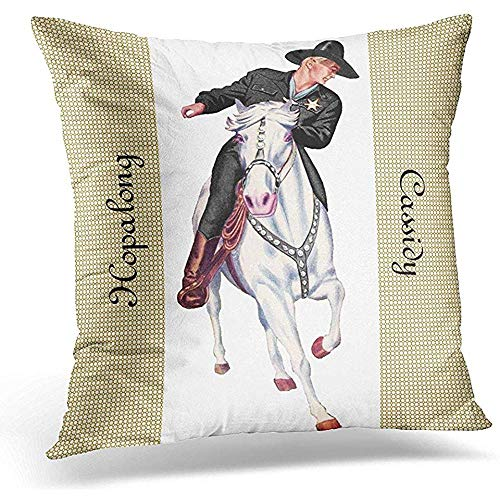 Dweobolufz Throw Pillow Cover 18 x 18 Inch Western Hopalong Cassidy Cowboy Topper White Horse Two Cushion Cover Case Pillow Custom Zippered Square Pillowcase ()