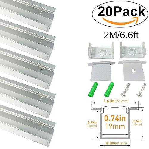 LightingWill Clear LED Aluminum Channel Spot Free U Shape 6.6Ft/2M 20 Pack Anodized Sliver Rails for <20mm 5050 3528 LED Flex/Hard Strip Lights with Covers, End Caps, and Mounting Clips TP-U05S20 by LightingWill