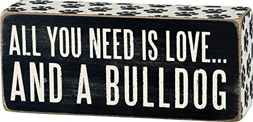 Primitives by Kathy Paw Print Trimmed Box Sign, 2.5 x 6-Inches, Bulldog 1
