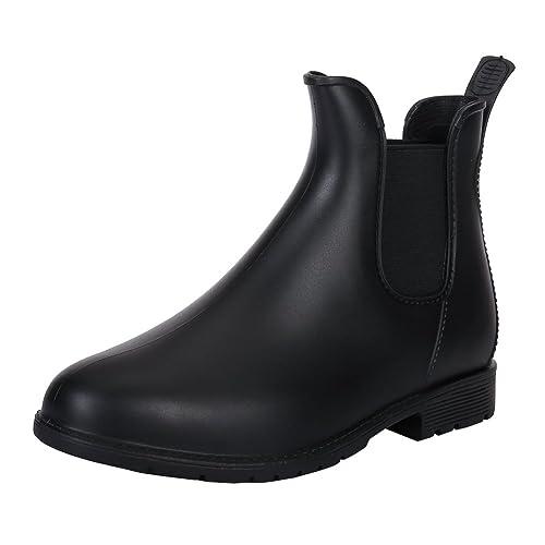 5314afddb63 Women Wellington Patent Elastic Ankle Welly Rain Boots Jelly Chelsea Booties  Black 36-4.5 UK