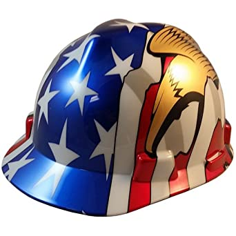 MSA V-Gard Cap Style Patriotic Hard Hat with American Flag and 2 Eagles- One Touch Suspension