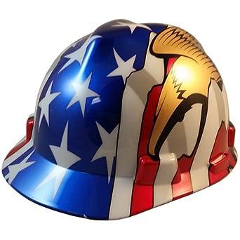 MSA V-Gard - Casco de estilo patriótico con bandera estadounidense y 2 águilas -