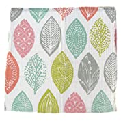 Muslin Swaddle Blanket - 100% Organic Cotton - Creative Babies Leafpod Designer Print - 47 x 47 inch Baby Girl or Baby Boy Swaddle Blanket or Nursing Cover w/ Reusable Muslin Bag Gift Set
