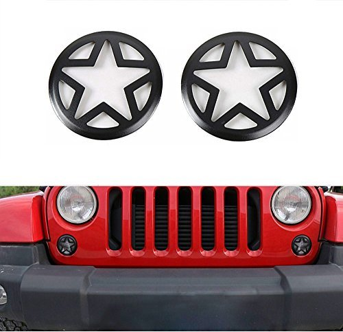 Hooke Road Front Turn Signal Light Guards Star Covers for 2007-2018 Jeep Wrangler JK - Pair