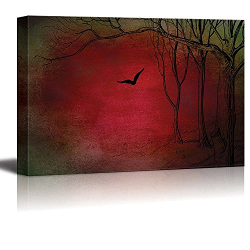 Illustration of Trees and a Crow Over a Red and Green Texture