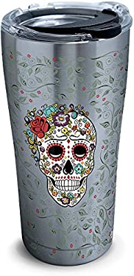 de60d407165 Tervis 1306139 Fiesta-Skull and Flowers Stainless Steel Insulated Tumbler  with Clear and Black Hammer Lid, 20oz, Silver