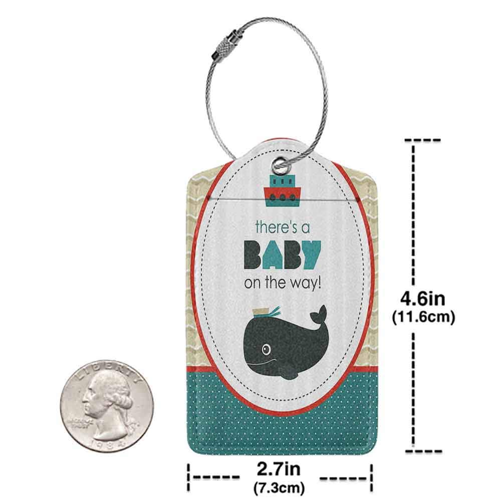 Flexible luggage tag Ahoy Its a Boy There is a Baby on the Way Cartoon Dolphin Abstract Ocean Waves Circular Fashion match Blue Red White W2.7 x L4.6