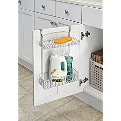 mDesign Over the Cabinet Kitchen Storage Organizer Basket for Aluminum Foil, Sponges, Cleaning Supplies - 2-Tier, Chrome