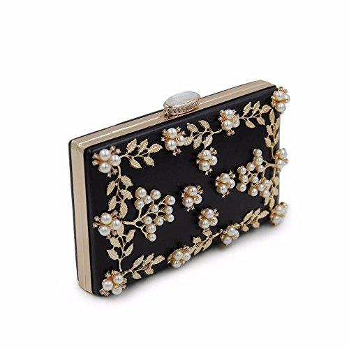 diamond Black pearl qualité multicolor de sac haute broderies black sac pearl nouveau soir embrayage 5qxwYn8nBT