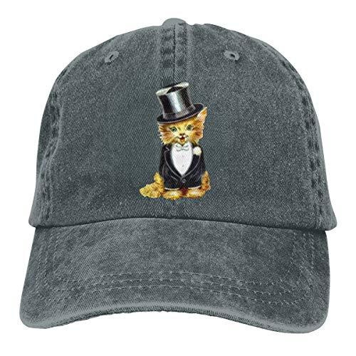 GoDiao Cat Groom Sports Adjustable Denim Cap Hat