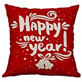 Pgojuni Linen Blend Christmas and Happy Year Throw Pillow Cover Decorative Cushion Cover Pillow Case1pc (45cm X 45cm) (C)