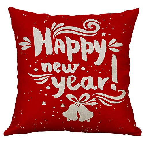 Pgojuni Linen Blend Christmas and Happy Year Throw Pillow Cover Decorative Cushion Cover Pillow Case1pc (45cm X 45cm) (C) by Pgojuni_Pillowcases (Image #1)