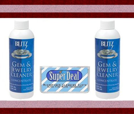 2 Pack 8oz BLITZ Concentrated Jewelry Cleaning Solution + FREE Microfiber Cleaning Cloth - Ideal for use with Ultrasonic Cleaners! Blitz Gem And Jewelry Cleaner