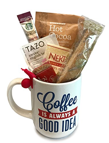 Coffee Tea Cocoa Mug Gift Set with Starbucks Via Coffee, Starbucks Hot Cocoa, Tazo Tea, Honey, Nonni's Biscotti + More -Lots of Cup Styles- (Coffee is Always a Good Idea) (Breakfast Themed Gift Baskets)