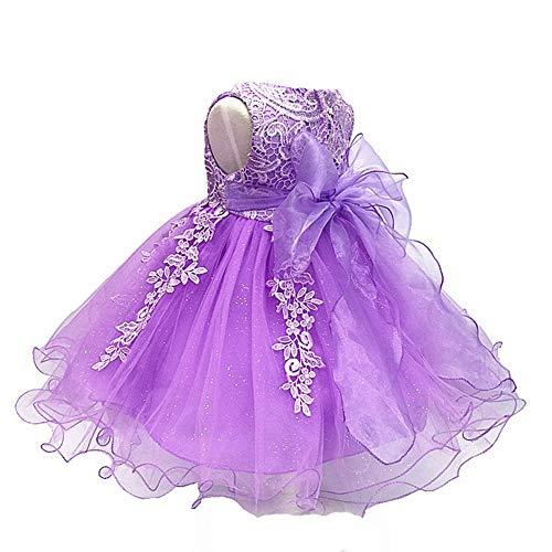 - LZH Girls Birthday Dress Baptism Wedding Party Flower Dress Purple