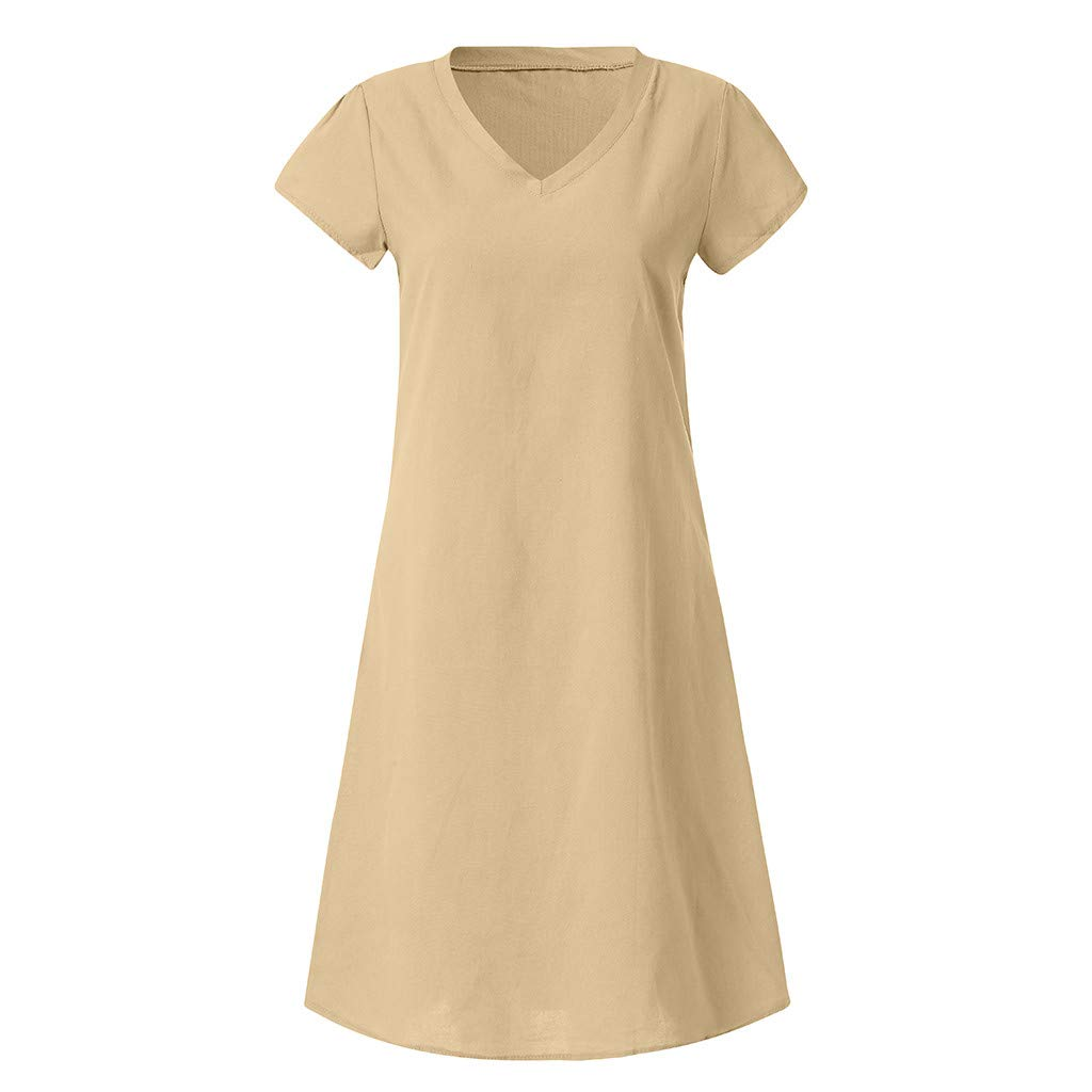 Womens Dresses-Short Sleeve V Neck T Shirt Midi Skater Mini Dress Summer Linen Dress Sundress Beach Dress