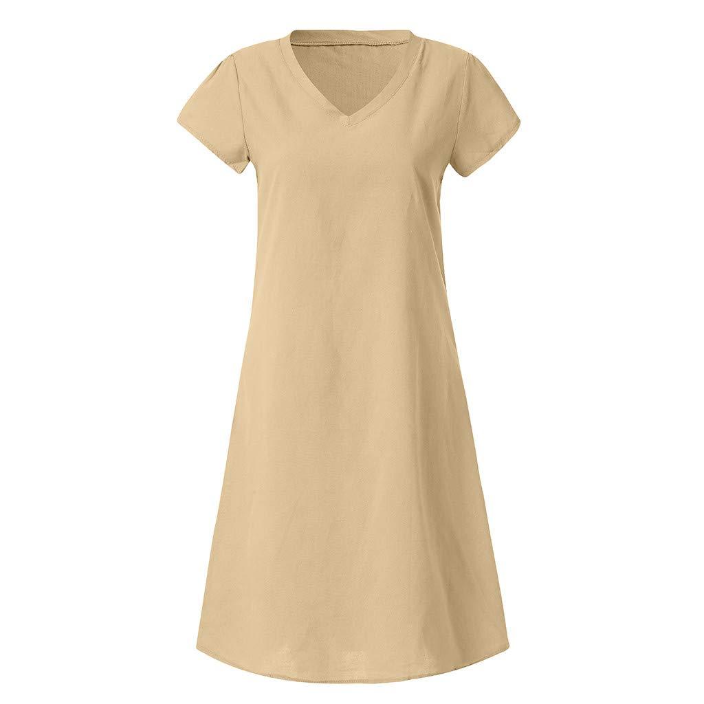 GIOKFEND Women Summer Style Feminino Vestido T-Shirt Cotton Casual Plus Size Ladies Dress (S, Khaki)