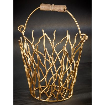 - KINDWER Gilded Iron Branches Bucket with Wood Handle