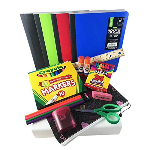 (Back to School Bundle/Starter Kit - Great for Grade School - Includes Purple Rocker Design Supply Pouch, notebooks, Ruler, Markers, Crayons, Pencils, Pencil Sharpener, Eraser, and Glue Sticks)