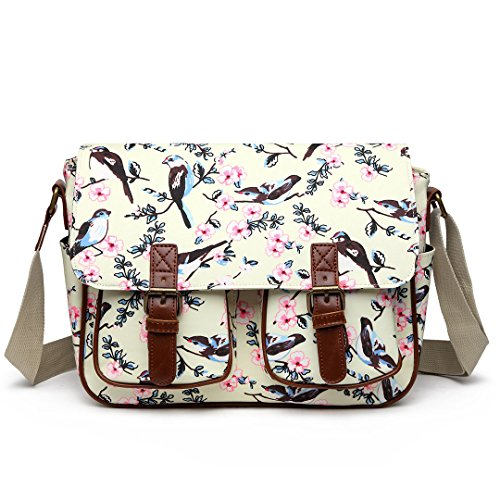 Miss Lulu Ladies Messenger Shoulder Bag Flower Bird Design Oilcloth Cross Body Messegner Satchel ()