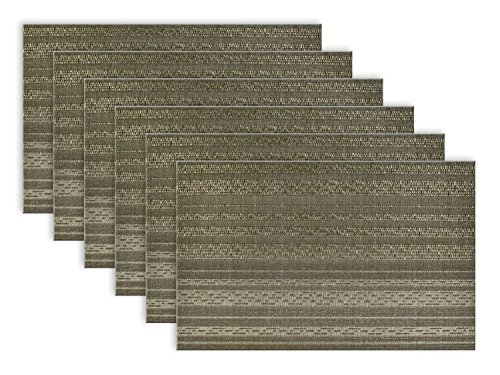 DII PVC Metallic Basketweave Striped Placemats, Set of 6, Gray - Metallic basket weave placemats are perfect for dressing up your table for dinner parties, holidays, or everyday use DII metallic placemats are 13x17.75 and fit most table sizes and come in a set of six DII's basket weave placemats are available in three colors: Gray, Copper, and Gold - placemats, kitchen-dining-room-table-linens, kitchen-dining-room - 516t tURyOL -