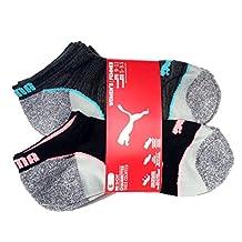 PUMA Women's No Show Sports Socks - 6 Pairs, Shoe Size 5 to 9.5, (Black/Grey)