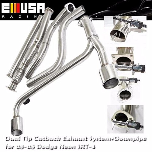 Dual Oval Muffler Tip Catback Exhaust& Downpipe for 03-05 Dodge Neon SRT-4 ()