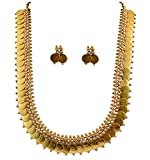 YouBella Jewellery Gold Plated Traditional Indian Temple Coin Necklace Set Earrings Girls Women (White)
