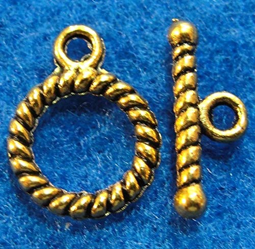 50Sets Wholesale Tibetan Antique Gold Round Twist Toggle Clasps Connectors Q0947 Crafting Key Chain Bracelet Necklace Jewelry Accessories Pendants