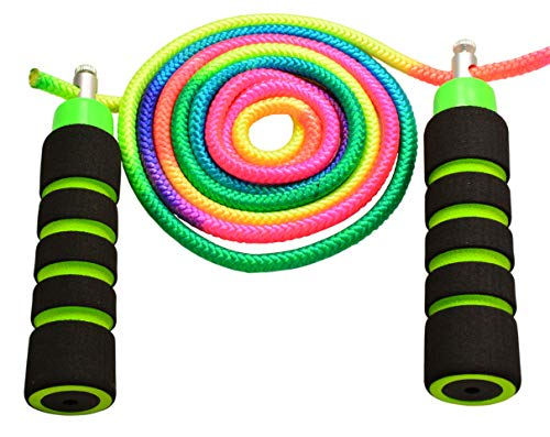 Annas Rainbow Ropes Kids Jump Rope Durable Child Friendly Skipping Rope - Exercise Toy for Playground with Lightweight Foam Handles and Vibrant Colors