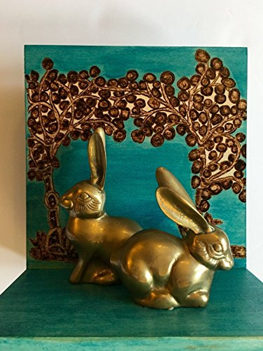 Handmade and Handcrafted Woodburned Historically Themed Bookend With Brass Bunnies - Home, Office, or Nursery Decor Inspired By A Medieval 13th Century Arabic Zoological Manuscript By Ibn Bakhtishu by The Arabesque