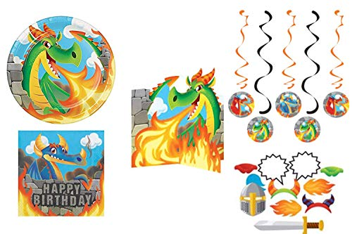 Fire Breathing Ultimate Dragon Birthday Party Supplies Decorations Kit For 16 Boys(Knights) Or Girls(Princesses)]()