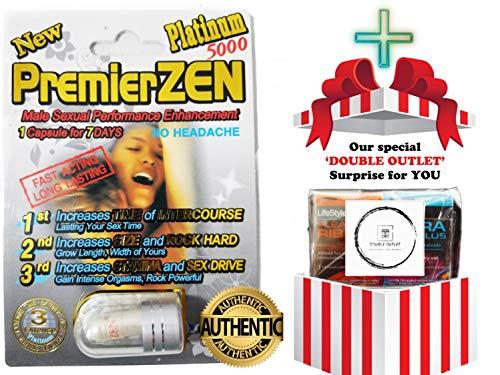 (PremierZen Platinum 5000 Sexual Performance Enhancer [Bundle 6 Pills + 'Double Outlet' Gift] (6 Silver + Gift))