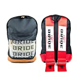 Hey Dreamer JDM Racing Bride Backpack Harness Shoulder Straps Zipper Pockets with Padded Computer Compartment (Red)